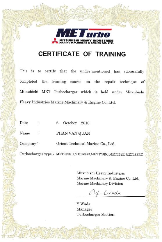 Certificate of Training - MET 2016